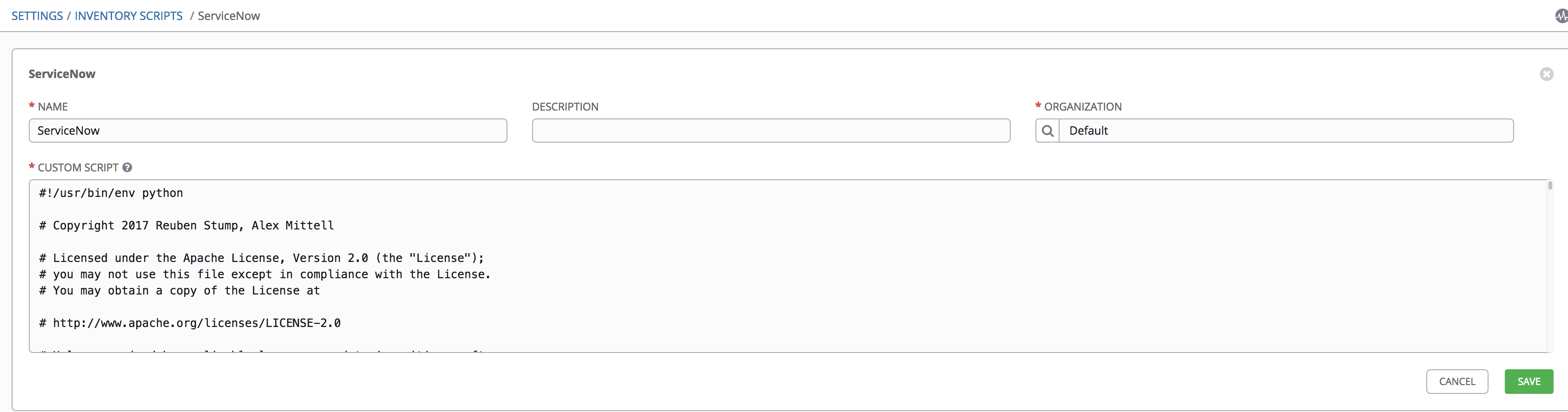 ServiceNow (snow) inventory for Ansible Tower 3 2 1